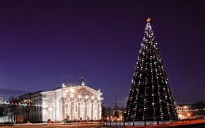 Gomel, Lenin Square, Christmas Tree, Gomel Oblast Drama Theatre, Night
