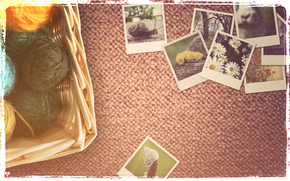 клубки,  фотографии,  нитки,  улитка,  ромашки,  винтаж