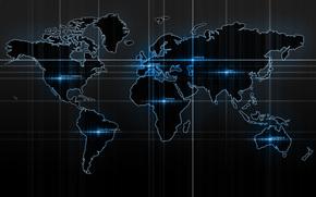 Map, карта мира, материки, band, glow, надписи, blue