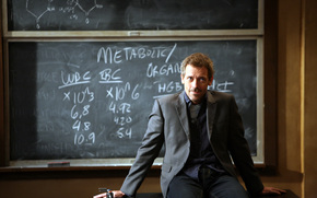 doctor, House, Hugh, lory, table, board, gray, cane, man, eyes, hospital, smile, view, sitting, chalk, text