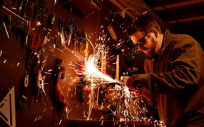 muzhik, beard, glasses, sparks, Tools, cutter