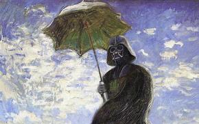 дарт вейдер,  картина,  маслом,  зонтик,  шлем,  плащ,  небо