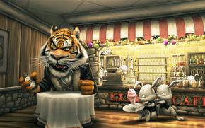 тигр,  кролики,  клиент,  кафе,  столик,  заказ,  мороженое,  часы,  касса,  официанты,  опаздывают