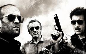 Jason Stetem, Robert De Niro, Clive Owen, professional, glasses, machine, gun, film, Movies, movie