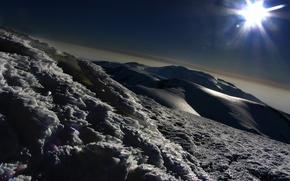 ghiaccio, Montagne, sole