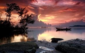 natura, tramonto, acqua, Barche