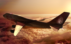 боинг,  самолет,  высота,  полет,  небо,  облака,  солнце,  лучи,  закат