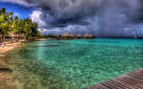 Bora Bora, spiaggia, mare, palma, rilassante, paesaggio, architettura, Villas