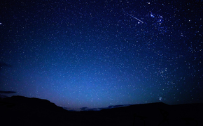 ночь,  небо,  звезды,  метеор,  след,  горы