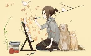 girl, dog, cat, draws, Butterflies, brush, easel, Birds, Books