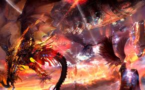 battle, Dragons, ship, fire, wings, Lightning, rocks, stones