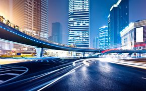 night, megalopolis, motion, range, signs, layout, road, neon, high, building, lights