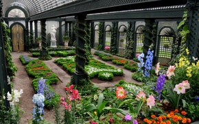 invernadero, estatua, camas, Flores