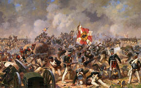 battaglia, guerra, soldati, Russo, Francese, Guerra patriottica, bandiera, fumare, Ferito, battaglia per vampate di Bagration, Averyanov