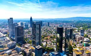 Germany, Frankfurt am Main, megalopolis, panorama, architecture, high, building, home, Street, motion, blue, sky, warm, sunny, day, clouds, horizon
