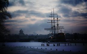 sailing ship, ship, winter, Peter, St. Petersburg, snow, city