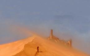 песок, замок, человек