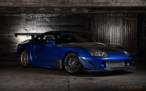тойота супра,  спорткар,  отличная машина,  тюнинг,  красивый цвет,  синий,  полумрак,  Toyota