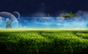 фантазия,  травы,  луга,  ночь,  летающий остров,  планеты,  небо,  облака,  мельница,  воздушные шары