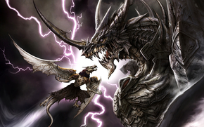 dragon, lightning, armor, teeth