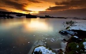 небо,  закат,  озеро