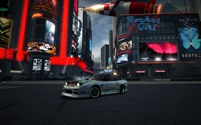 nissan, 240sx, s13, city, red, rocket, nfs, world, game, car