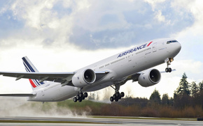 пассажирский,  самолёт,  боинг,  эйр,  франс,  лайнер,  взлет,  небо,  облака,  деревья