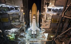night, Shuttle, missile, carrier, spaceport, installation, training