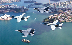 aircraft, flight, fighters, four, city, home, building, bridge, arch, strait, Island, boats, Yacht