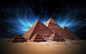 Egypt, pyramids, glow