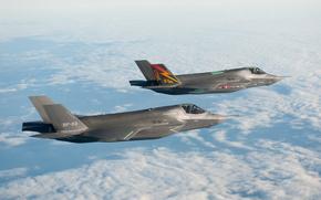 лайтнинг,  истребитель-бомбардировщик,  пятого,  поколения,  небо,  облака,  высота,  полет