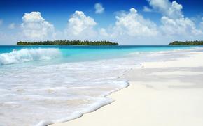 雲, 空, 海, 紺碧, 白, 砂, 波, 海の泡, 島