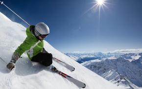 paysage, neige, Montagnes, ciel, skieur, descente