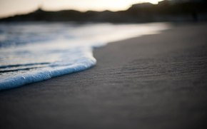 coast, beach, sand, sea, foam, photo, macro, wallpaper