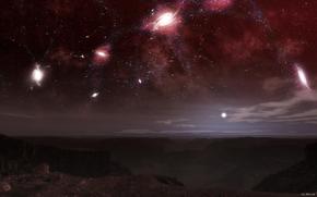 obca planeta, noc, niebo, Gwiazda, galaktyka, Konstelacja