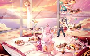 аниме,  красная шелковая птица,  фея,  девочка,  стол,  окно,  горы,  крылья,  закат,  торт,  вечер,  солнце,  чашка,  кружка,  чайник,  пир,  скатерть,  облака,  сладости,  пирожное,  ягода,  море,  пейзаж,  цветок,  дружба,  еда