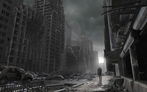 катастрофа, разрушения, здания, человек