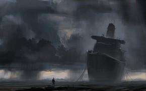 корабль, берег, рисунок, человек