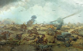 война,  бойня,  бой,  битва,  вторая великая отечественная война,  картина,  поле,  солдаты,  русские,  немцы,  танки,  самолеты,  оружие,  боеприпасы,  дым,  огонь,  раненные,  трупы