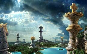 性质, 棋, 棋子, 石, 湖, 瀑布, 森林, 天空