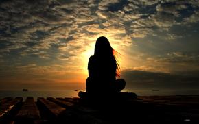 viento, tarde, nia, Naves, mar, cielo, las nubes, paisaje, retrato, Naturaleza, gira, silueta, sol, puesta del sol, miami