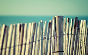 macro, Beaches, water, sea, ocean, sky, summer, heat, fences, bamboo, tree, board, fence