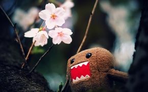 macro, photo, tree, branch, Flowers, toy, character, house-kun, wallpaper, Pictures