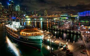 сидней,  австралия,  корабль,  пароход,  пристань,  причал,  город,  огни,  мост,  здания