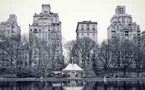 city, New York, Central Park, lake, Trees, building, wallpaper