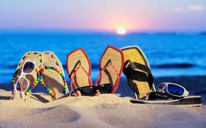 sea, beach, sand, flip-flops, glasses, sunset, summer, vacation
