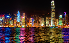 city, Hong Kong, evening, lights, reflection