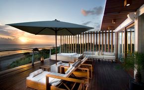 architettura, veranda, costa, vista, tramonto, lusso, stile, bello