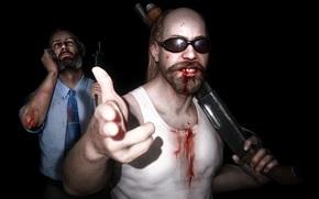 оружие, кровь, жест, свет, очки