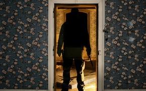 porta, carta da parati, fantasma, coltello